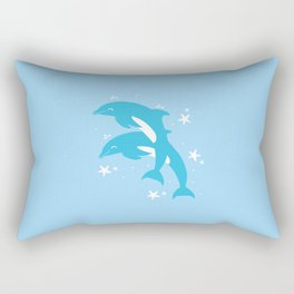 Sealife (Dolphins) - Pale Blue Rectangular Pillow