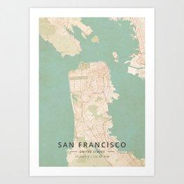 San Francisco, United States - Vintage Map Art Print