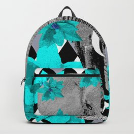 ELEPHANT and HARLEQUIN BLUE AND GRAY Backpack