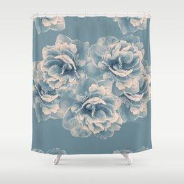 Blush Blue Peony Flower Bouquet #1 #floral #decor #art #society6 Shower Curtain