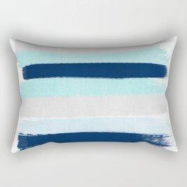 Stripes minimal painted stripe pattern blue indigo grey nautical nursery decor Rectangular Pillow