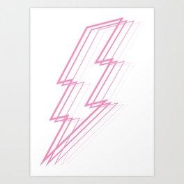 Pink Lightning Bolt Art Print
