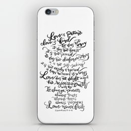 Love is Patient, Love is Kind -1 Corinthians 13:4-8 iPhone Skin