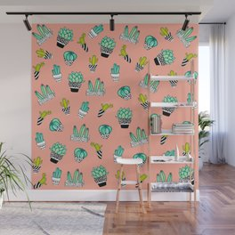 Summer Watercolor Cactus Modern Coral Pattern Wall Mural