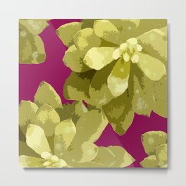 Succulent Plants On A Burgundy Background #decor #buyart #society6 Metal Print