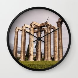 Greek columns I Athens, Greece I Classical architecture I Photography Wall Clock