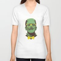 frank V-neck T-shirts featuring Mr Frank by Victor Vercesi