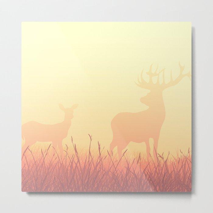 Deer ft Fog Metal Print