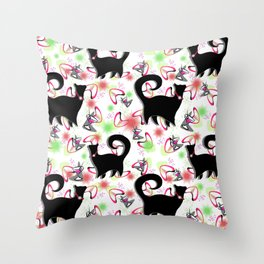 Retro Snobby Cats 2 Throw Pillow