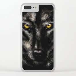 hand-drawing portrait of a black wolf on a black background Clear iPhone Case