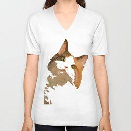 I'm All Ears - Cute Calico Cat Portrait Unisex V-Neck