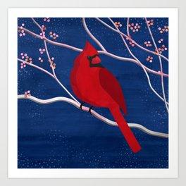 Cardinal on Blue Art Print