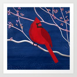 Cardinal on Blue Art Print