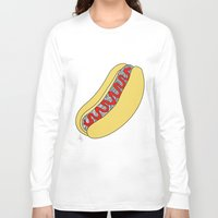hot dog Long Sleeve T-shirts featuring Hot Dog by Amber Lily Fryer
