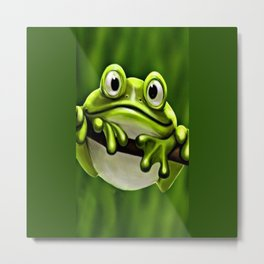 Adorable Funny Cute Green Frog In Tree Metal Print