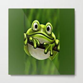 Adorable Funny Cute Green Frog In Tree Metal Print