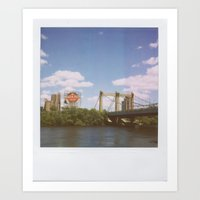 minneapolis Art Prints featuring Minneapolis by Eric Wilcox / let it unwind