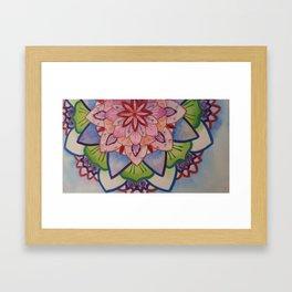 Fleur de la vie mandala Bleu Framed Art Print