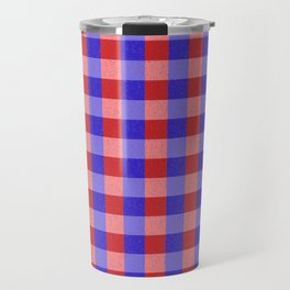 Red Blue and Pink Pretty Check Pattern Travel Mug