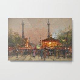 Paris La foire du Trône à la place de la Nation by Eugene Galien Laloue Metal Print