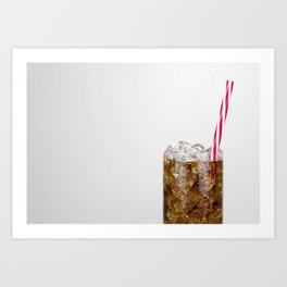 Fizzy Drink With Ice Against a White Background Art Print