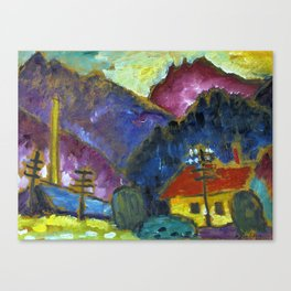"""Small Landscape with Telegraph Masts"""" 1012 Canvas Print"""