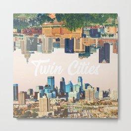 Skylines of Twin Cities Minneapolis and Saint Paul Minnesota Metal Print