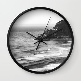 Pacific Northwest Grandeur - Heceda Lighthouse Black and White Wall Clock