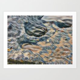 Abstract eroded rocks on beach with puddle Art Print