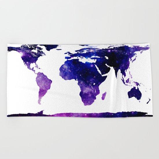 World Map Purple Blue Beach Towel