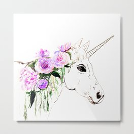 Unicorn with purple flowers Metal Print