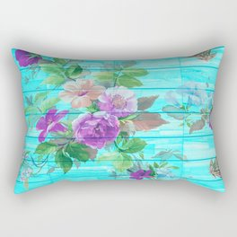 Vintage Floral with Butterflies Rectangular Pillow