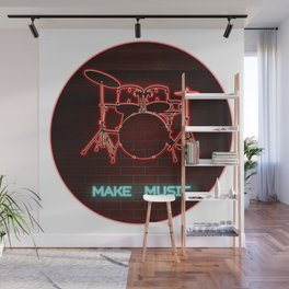 Red Neon Drum Set TEXT: Make Music in Aqua Wall Mural