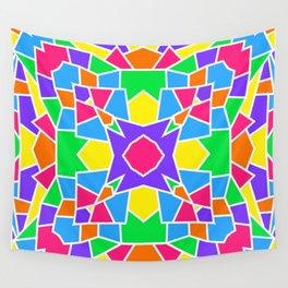 Rainbow Mosaic Symmetrical Kaleidoscope  Wall Tapestry