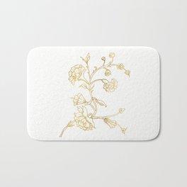 Golden flower on white background . artwork . Bath Mat