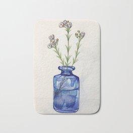 Blue Bottle With Flowers Stalks Sketch Bath Mat