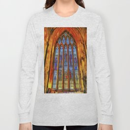 Stained Glass Window Van Gogh Long Sleeve T-shirt
