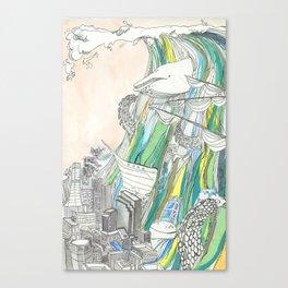 Whale Tital Wave Canvas Print
