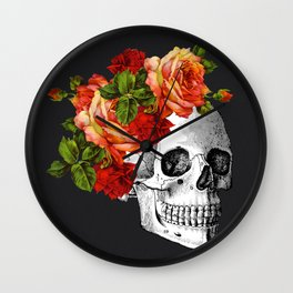 Day of the Dead Black Linen Wall Clock