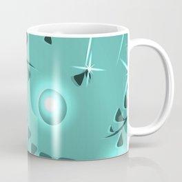 Botanical pattern turquoise plant elements blue ethnic style. Coffee Mug