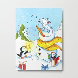Snowy Surprise Party Metal Print
