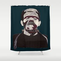 frankenstein Shower Curtains featuring Frankenstein by Mrs.Bubble