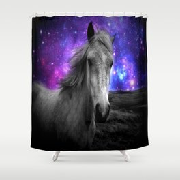Horse Rides & Galaxy Skies Shower Curtain
