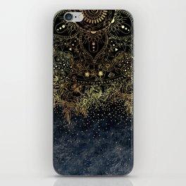 Stylish Gold floral mandala and confetti iPhone Skin