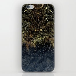 Stylish Gold floral mandala and confetti iPhone Skin