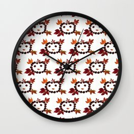 Happy Smiling Autumn Face #1 #pattern #decor #art #society6 Wall Clock