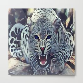 The Snow Leopard Metal Print
