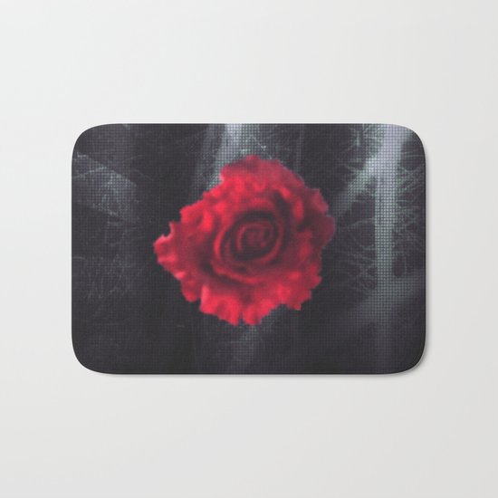 Red rose dark purple indigo metal look grunge  Bath Mat