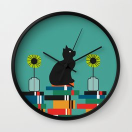 Cat, books and flowers Wall Clock