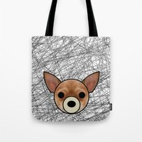 chihuahua Tote Bags featuring Chihuahua by lllg